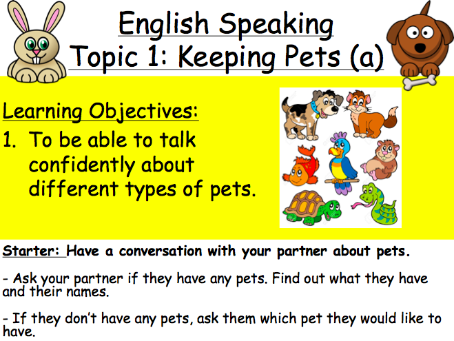 Lesson 1 & 2: Keeping Pets (Primary TEFL)