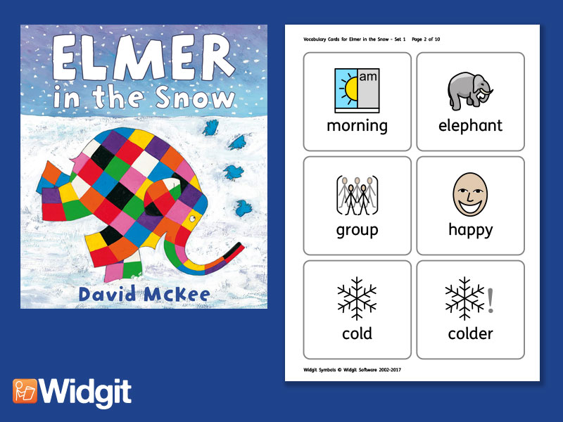Elmer in the Snow - Big Book Flashcards with Widgit Symbols