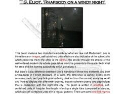 Close reading notes: analysis of T.S. Eliot, 'Rhapsody on a Windy Night'