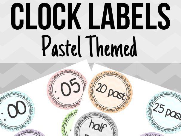 Pastel Clock Labels Words & Digits
