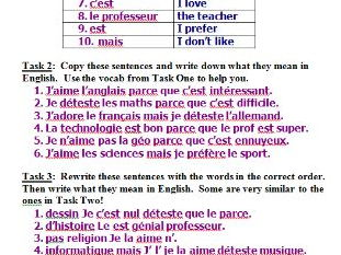 French opinions and reasons of school subjects