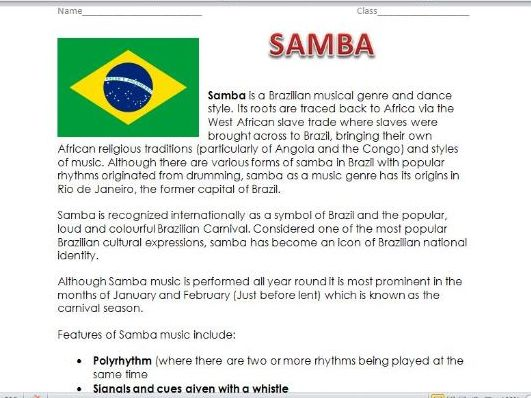 Introduction to Samba worksheet plus whole class listening