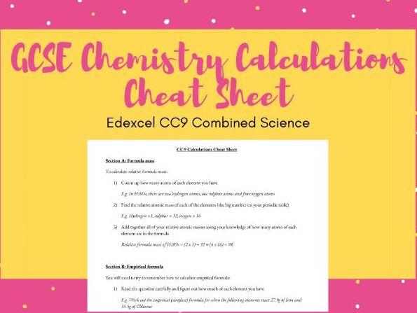 GCSE Chemistry Calculations Cheat Sheet (SC9/CC9)