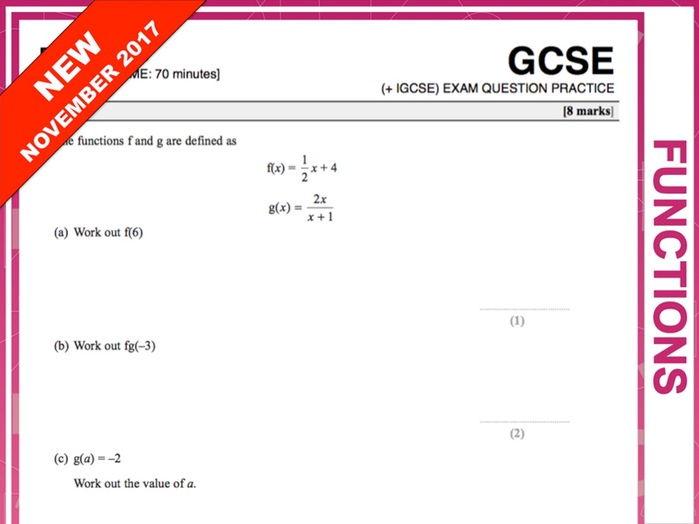 GCSE 9-1 Exam Question Practice (Functions)