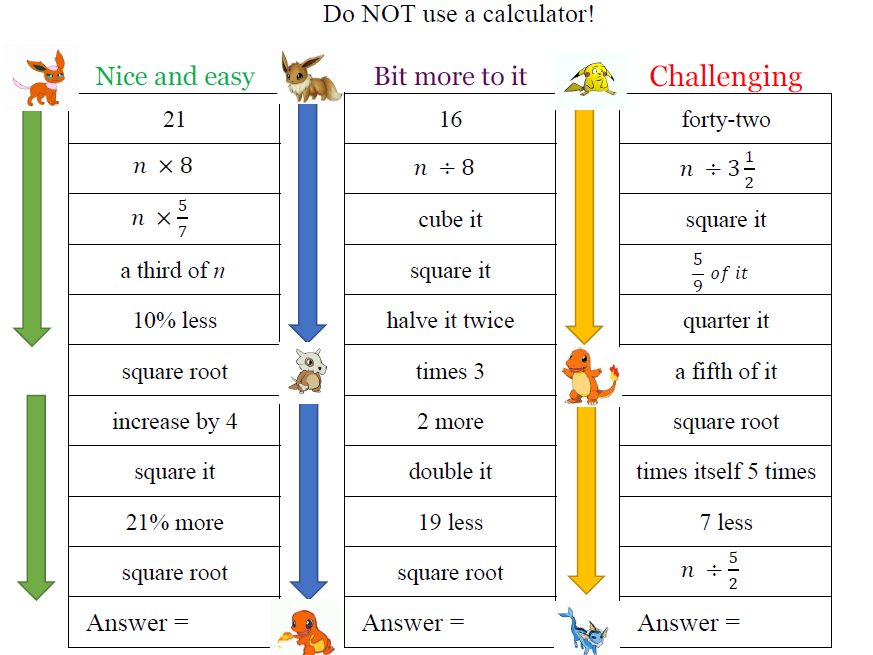 Arithmetic/Vocabulary Practice (no Calc)