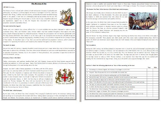 The History of Tea - Reading Comprehension Worksheet / Text