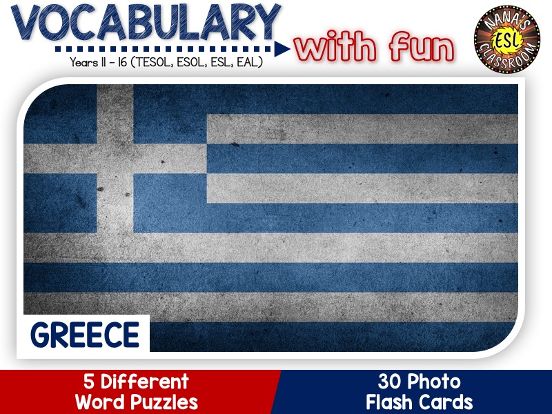 Greece - Country Symbols: 5 Different Word Puzzles and 30 Photo Flash Cards (IGCSE ESL, TESOL, ESOL)