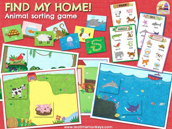 ANIMALS SORTING GAME - FIND MY HOME! - Animal Habitat Sorting & Memory Game