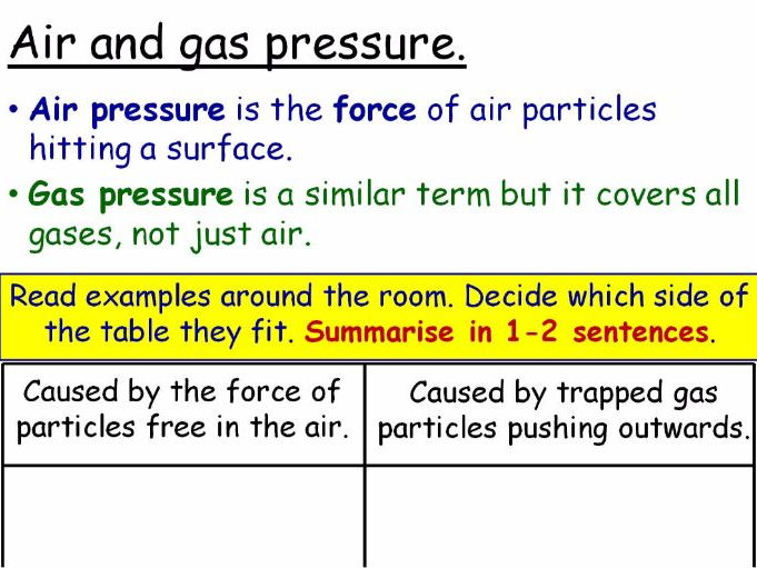 Air Pressure (Gas Pressure) Year 7 Lesson PowerPoint (KS3 7Ge) Particles