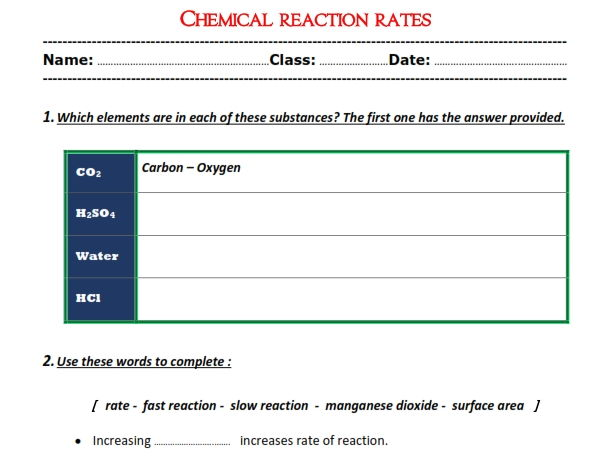 "Chemical reaction rates "" Worksheet"""