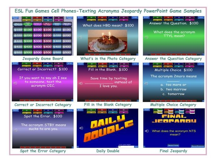 Cell Phones-Texting Acronyms Jeopardy PowerPoint Game