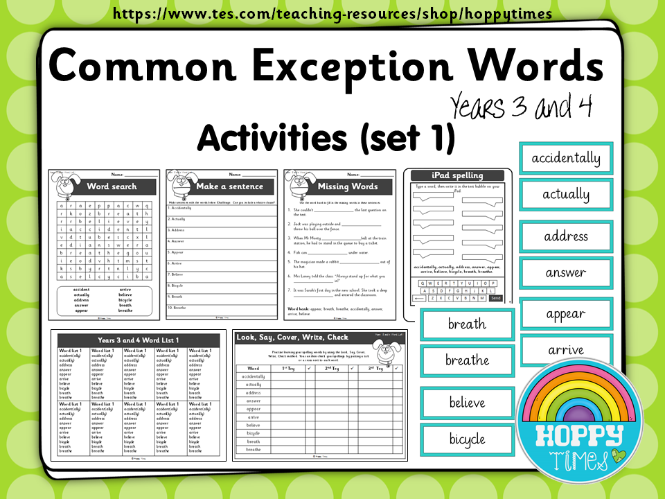 Year 3 / 4 Common Exception Words Spelling Activities (Set 1)