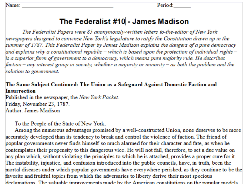 Federalist Era Primary Source Reading -- U.S. History