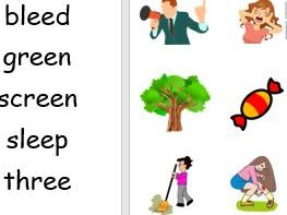 Phase 3 'ee' words and pictures