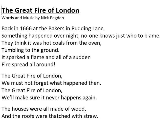 The Great Fire Of London, an upper KS1 song.