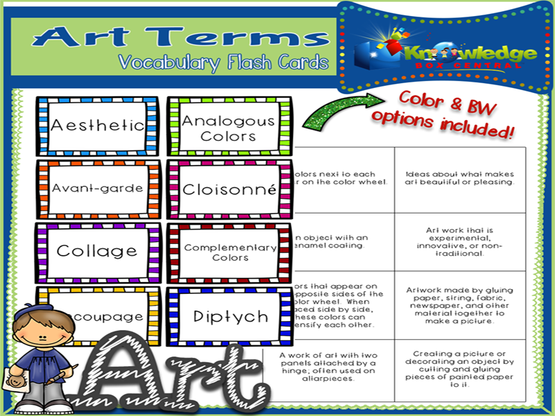 Art Terms Vocabulary Flash Cards