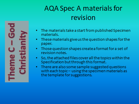 AQA GCSE (9-1) RS Spec A - Revision materials - Theme C Existence of God - Christianity