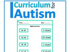 24 Hour Time Matching Worksheets, Autism & Special Education Life Skills