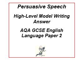 High-Level Exemplar Persuasive Speech