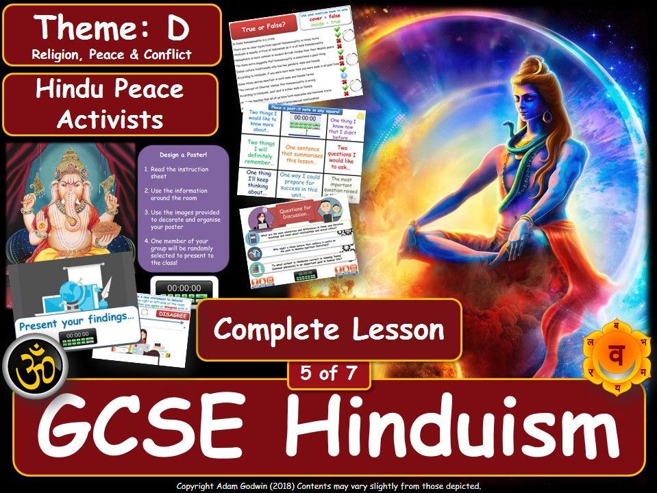 Hindu Peace Activists & Pacifism (GCSE RS - Hinduism - Religion, Peace & Conflict) L5/7