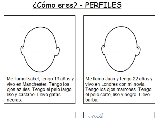 KS2/3 Spanish Descriptions - Hair + Eyes