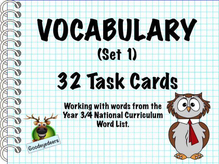 Vocabulary Challenge Cards - Year 3/4 Word List (Set 1)