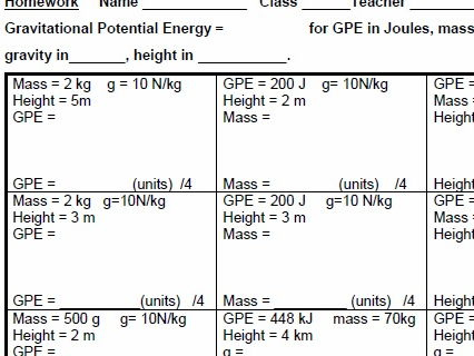 AQA GCSE Physics, Gravitational Potential Energy homework and test, plus Mark scheme