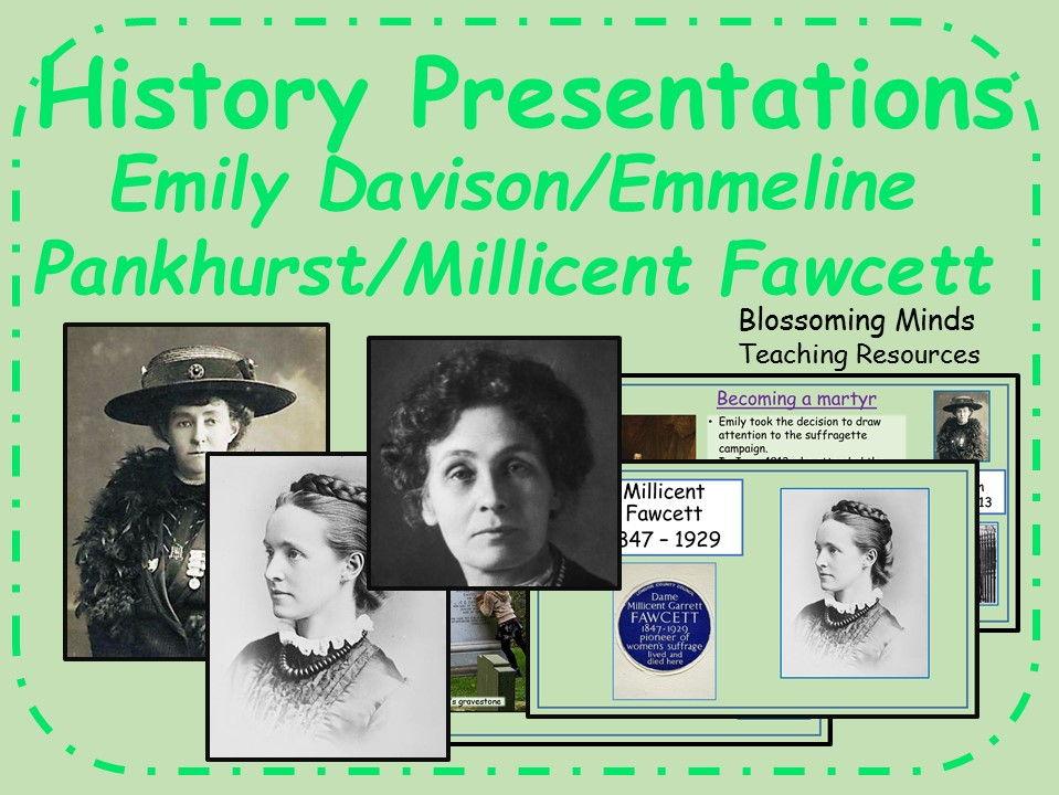 Suffragette presentation bundle (primary) - Emily Davison/Millicent Fawcett/Emmeline Pankhurst
