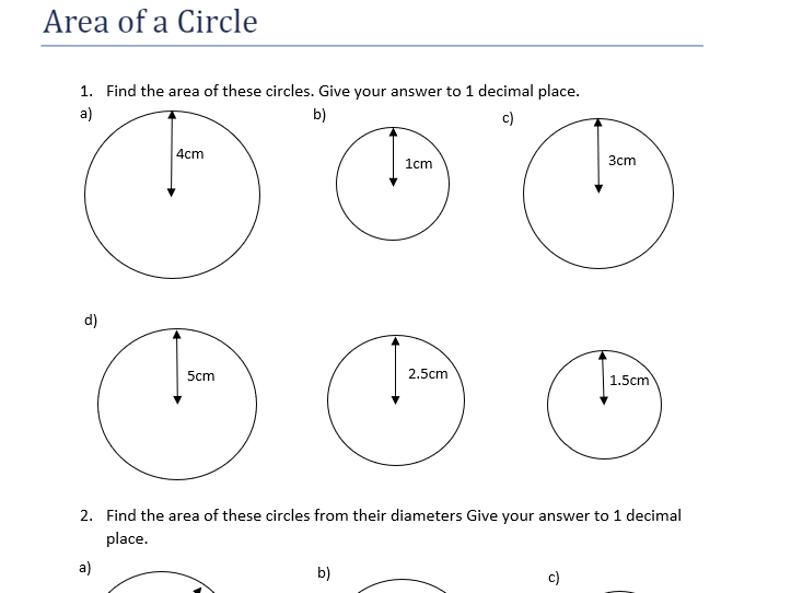 Area of Circle questions and answers