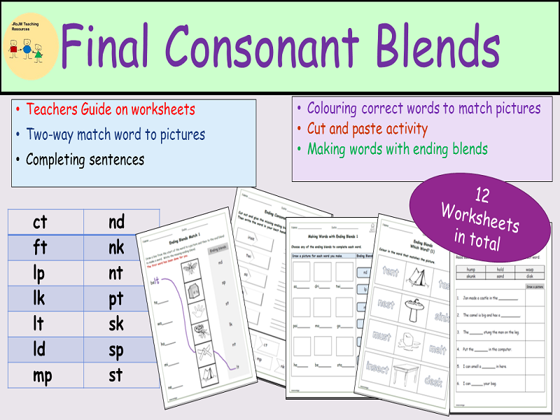 Phonics:  Final/Endings Consonant Blends/Clusters, Worksheets, Cut and Paste, Matching Activity