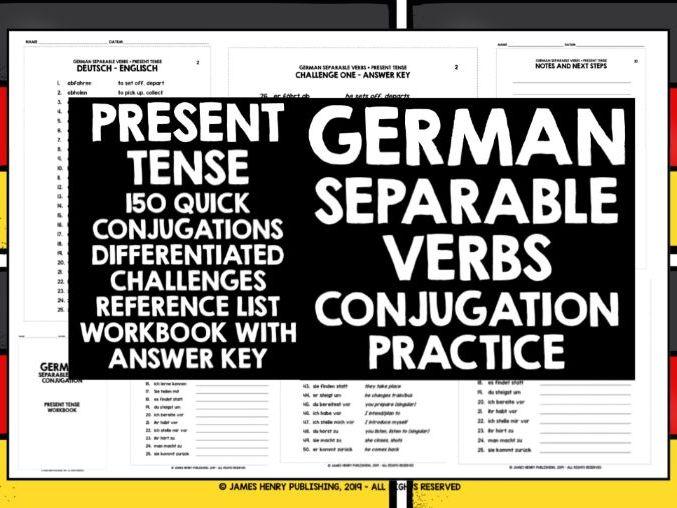 GERMAN SEPARABLE VERBS CONJUGATION PRACTICE #1
