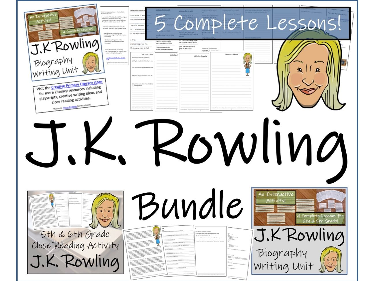 UKS2 Literacy - J.K. Rowling Reading Comprehension & Biography Bundle
