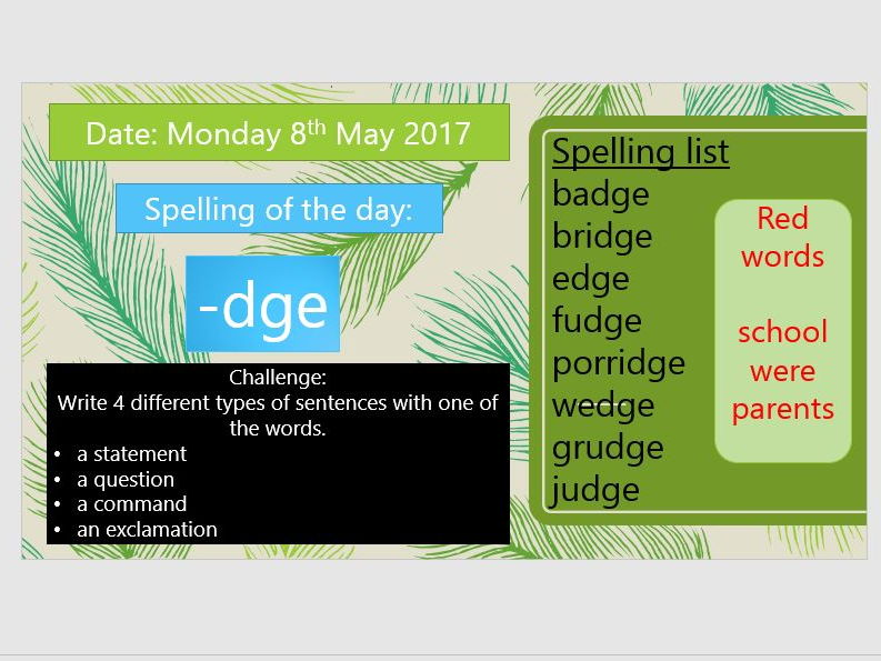 Year 2 Spellings and Exception words - Sound a day