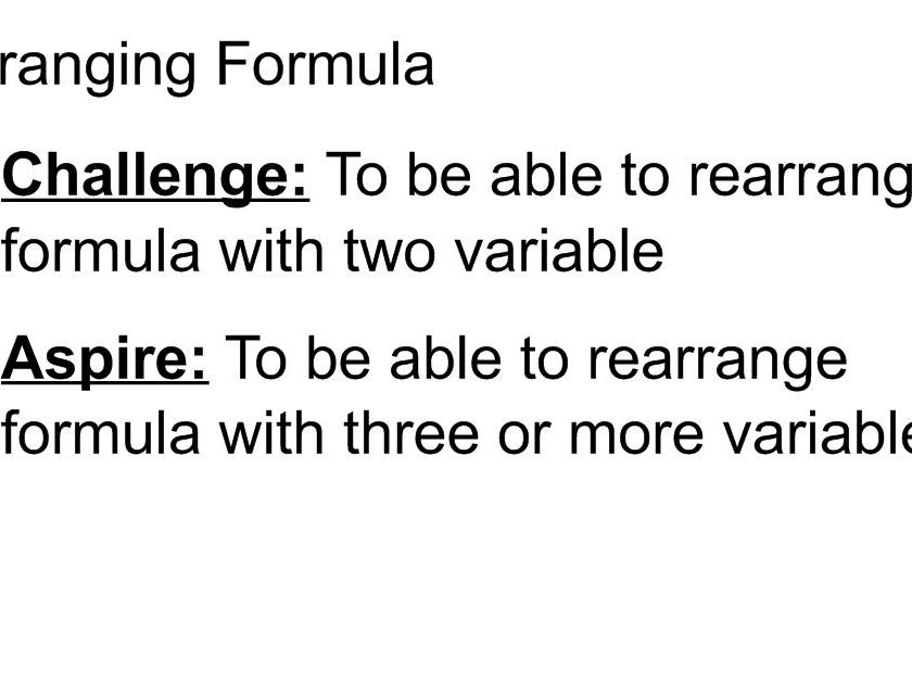 Intro to rearranging equations