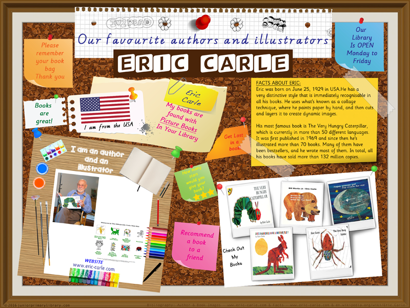 Library Poster - Eric Carle Author/Illustrator Very Hungry Caterpillar Library Poster
