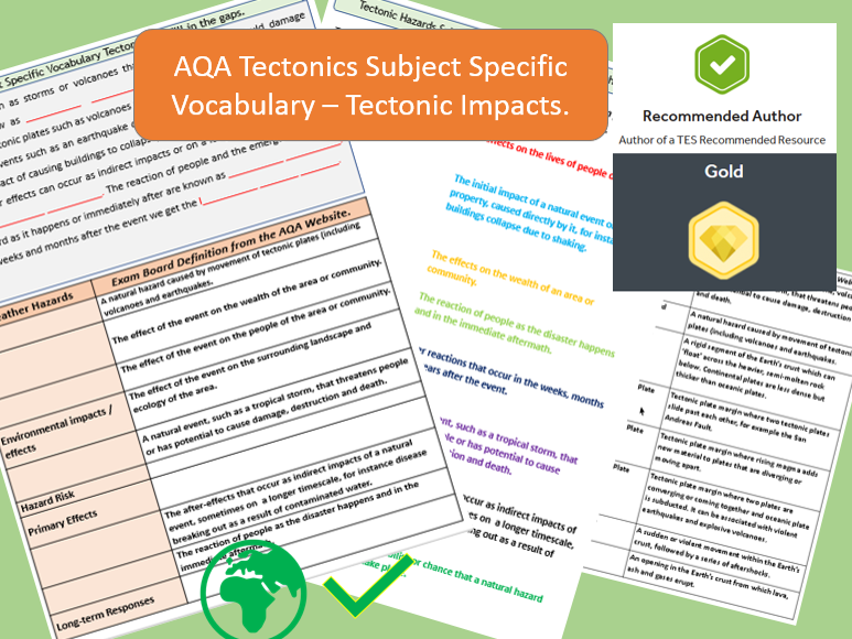 AQA 9-1 GCSE Geography - Tectonic Hazards 2 : Impacts.  Vocabulary Revision Activity Sheets.