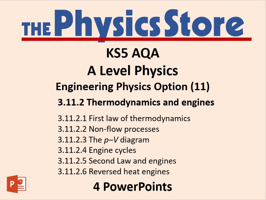 KS5 Physics AQA Engineering Physics - Thermodynamics and Engineering 4 PPTs