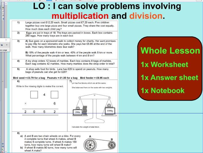 2# Whole Lesson - Multiplication and Division word problems based on SATS questions - KS2