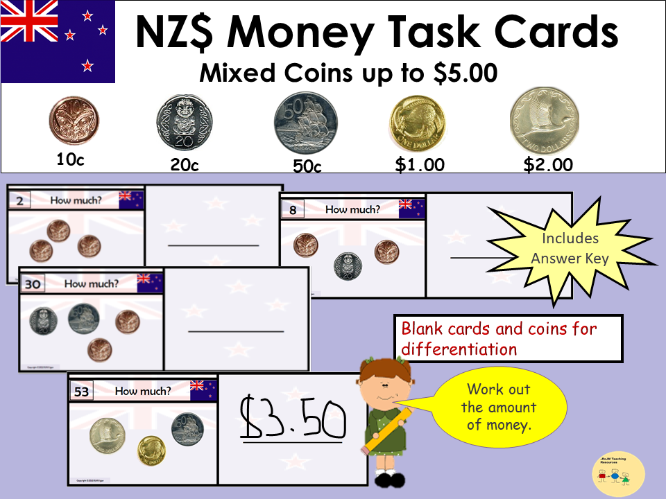 New Zealand Money Task Cards- Add up Mixed Coins to Value $5, Recording Sheet, Blank Cards and Coins