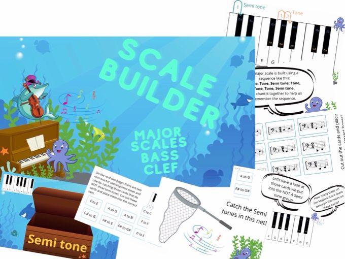 Scale Builder Major Scales Workbook teaching Tool PDF Bass Clef Version