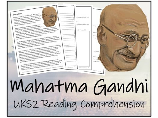 UKS2 History - Mahatma Gandhi Reading Comprehension Activity