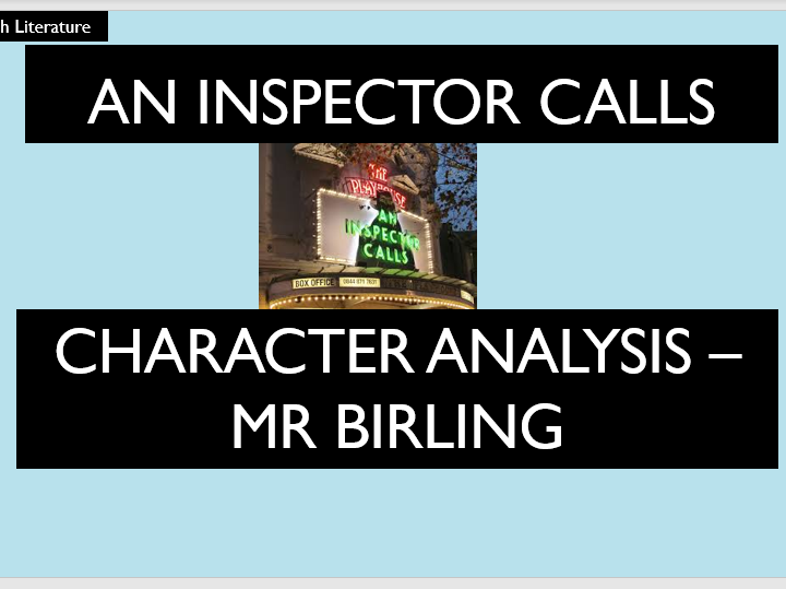 An Inspector Calls - Mr Birling Analysis