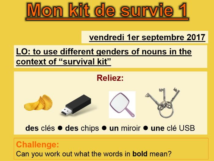 Mon kit de survie (2 lessons) - Studio 1 Module 1 Unit 1