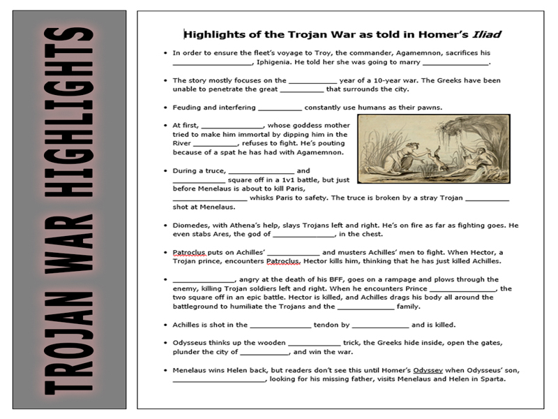 Homer Highlights of the Trojan War for the Odyssey