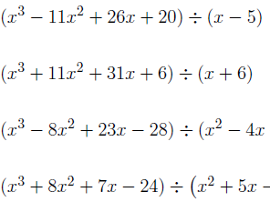 Dividing polynomials worksheet (with solutions)