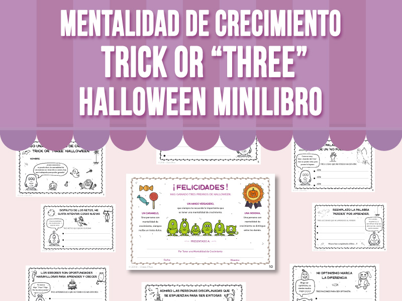 """Mentalidad de Crecimiento -Trick or """"Three"""" Halloween Minilibro"""