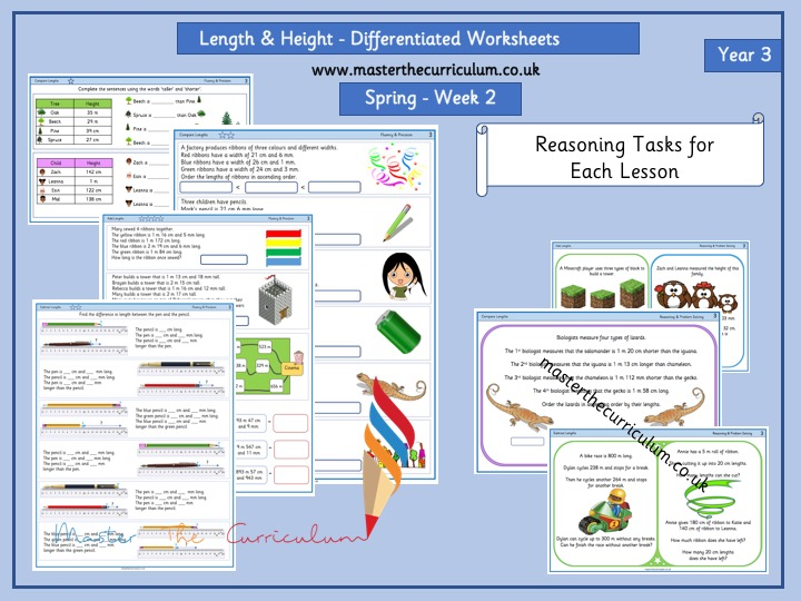 Year 3- Week 2- Length & Perimeter -Differentiated Worksheets- White Rose Style