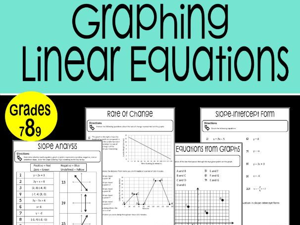Graphing Linear Equations Math Stations