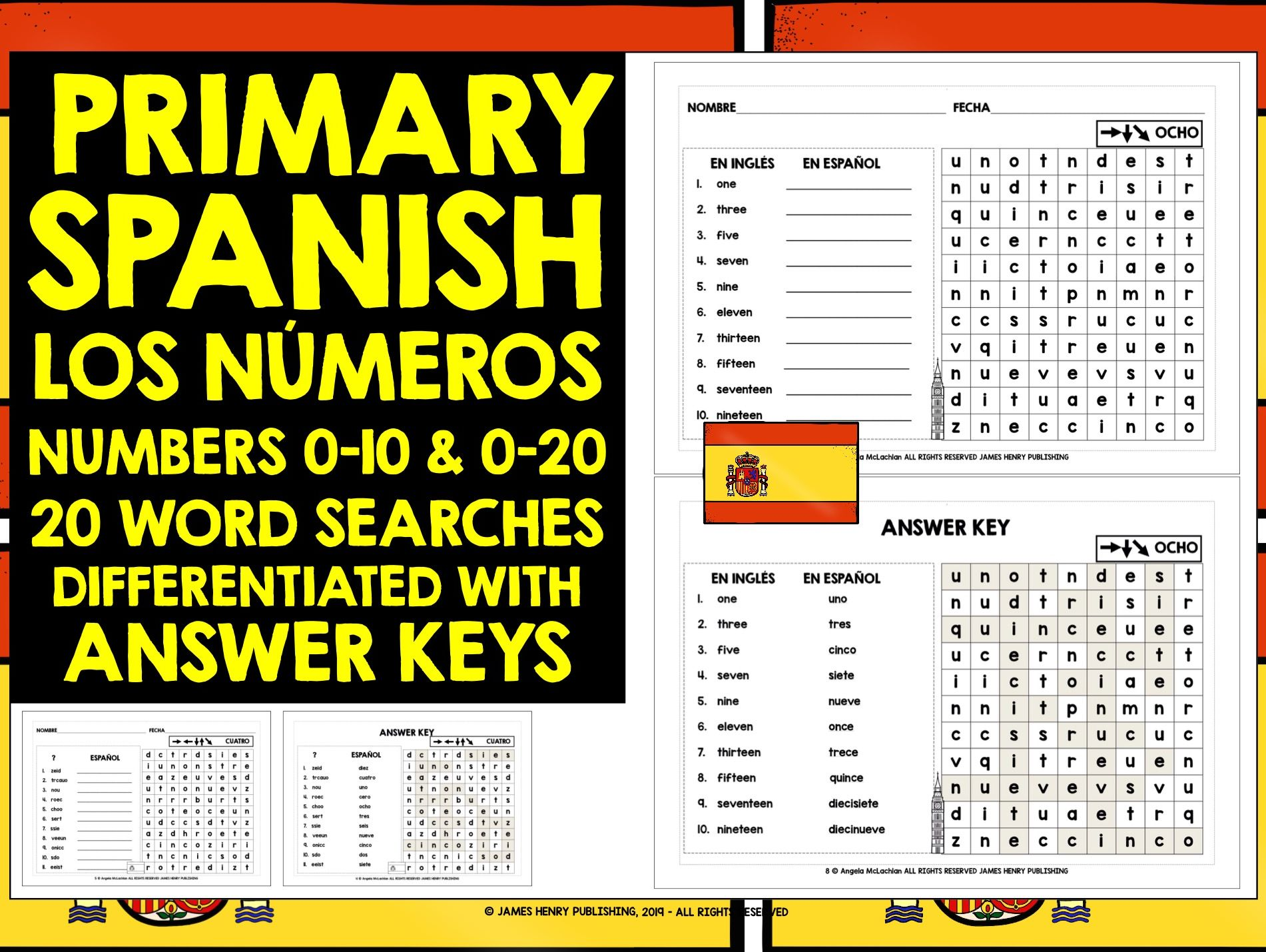 PRIMARY SPANISH NUMBERS 0-10 & 0-20 WORD SEARCHES
