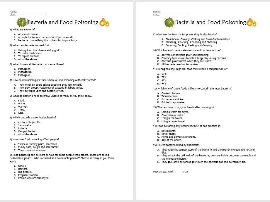 Bacteria and Food Safety Quiz